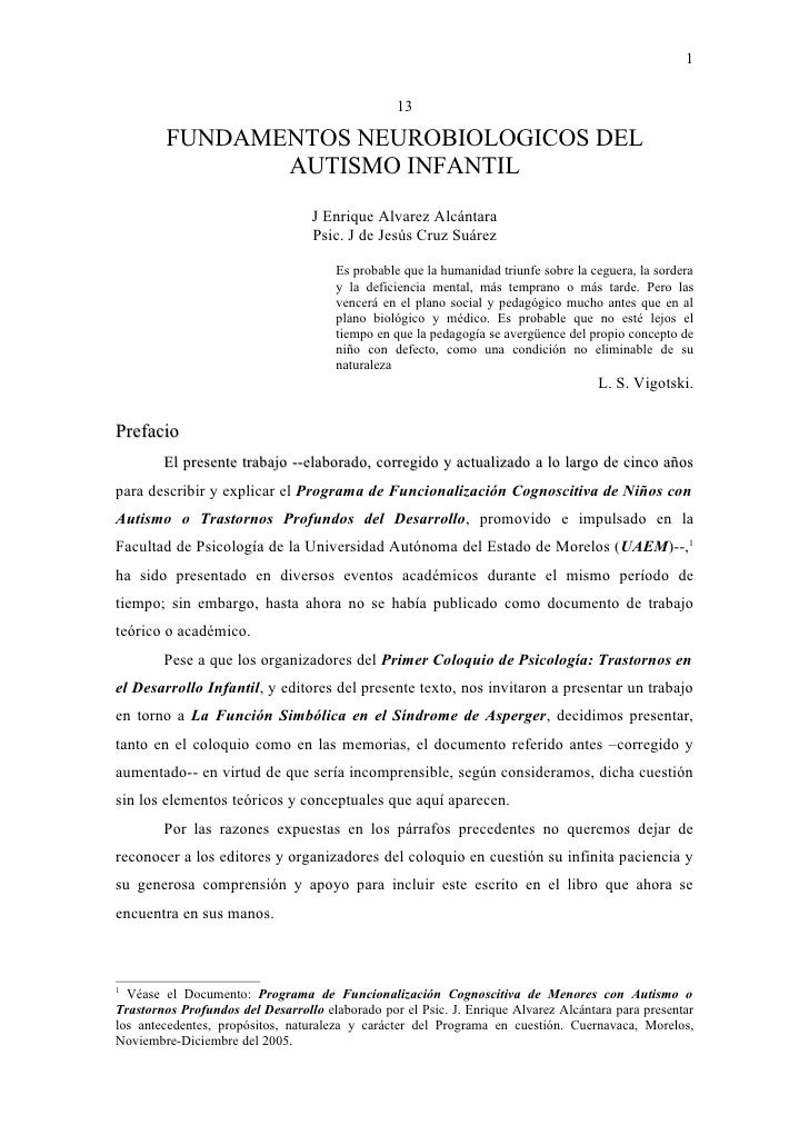 1                                                 13        FUNDAMENTOS NEUROBIOLOGICOS DEL               AUTISMO INFANTIL...