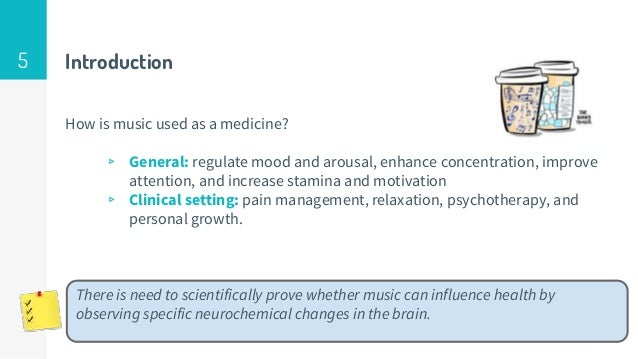 the neuro-chemistry of music essay Music is used to regulate mood and arousal in everyday life and to promote physical and psychological health and well-being in clinical settings however, scientific inquiry into the neurochemical effects of music is still in its infancy.