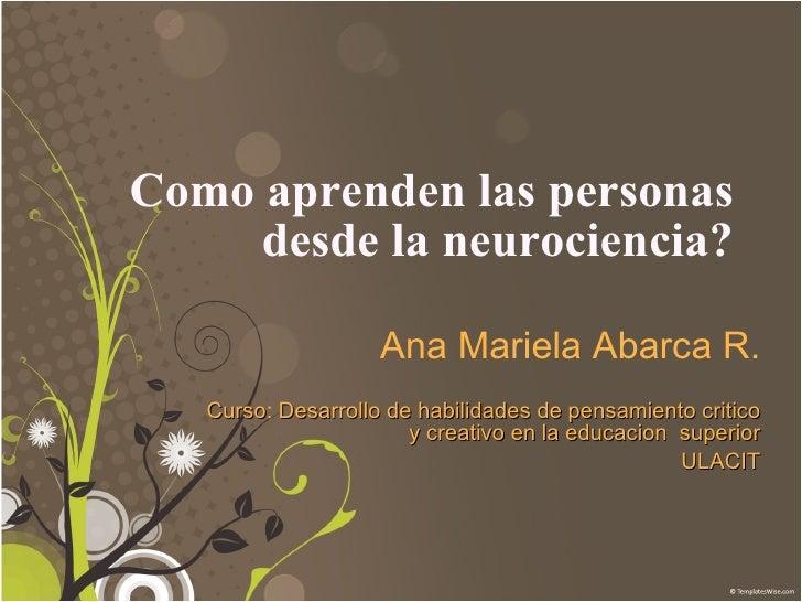 Como aprenden las personas desde la neurociencia? Ana Mariela Abarca R. Curso :  Desarrollo de habilidades de pensamiento ...