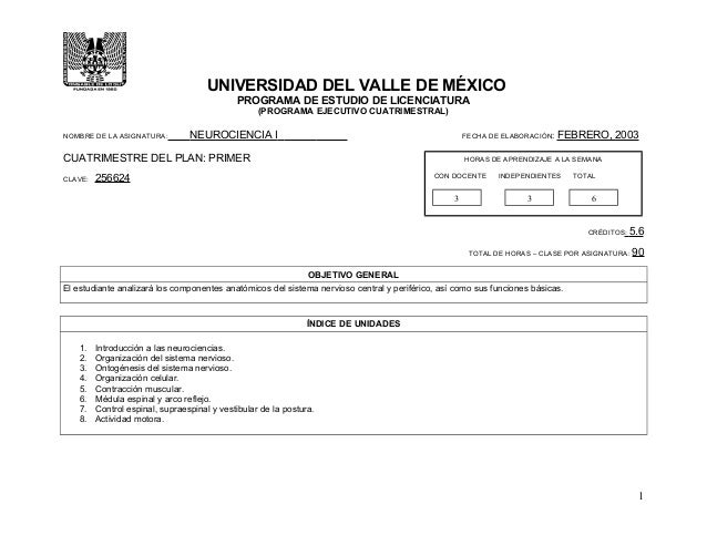 UNIVERSIDAD DEL VALLE DE MÉXICO PROGRAMA DE ESTUDIO DE LICENCIATURA (PROGRAMA EJECUTIVO CUATRIMESTRAL) NOMBRE DE LA ASIGNA...