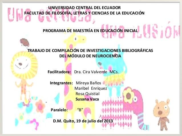 UNIVERSIDAD CENTRAL DEL ECUADOR FACULTAD DE FILOSOFÍA, LETRAS Y CIENCIAS DE LA EDUCACIÓN  PROGRAMA DE MAESTRÍA EN EDUCACIÓ...