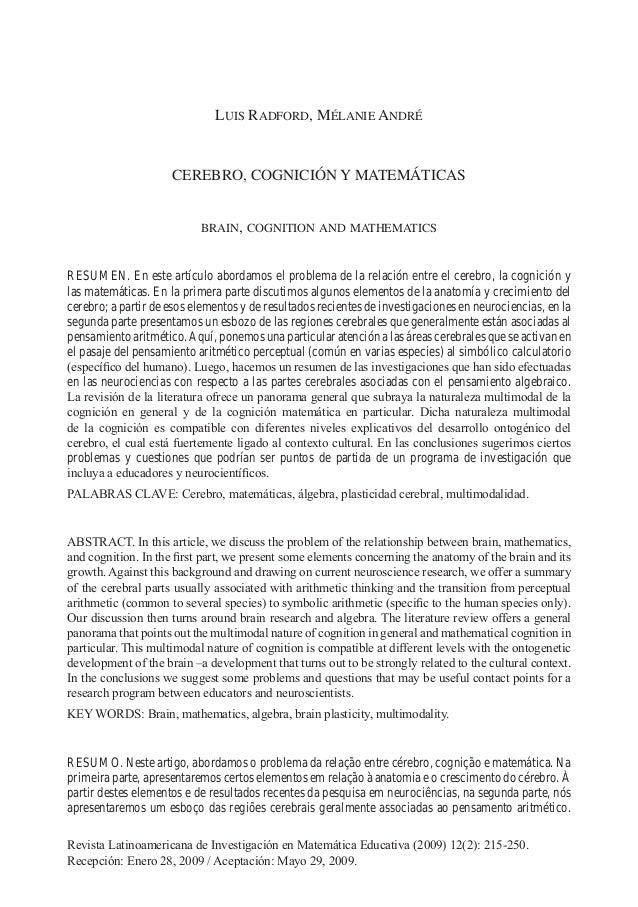 CEREBRO, COGNICIÓN Y MATEMÁTICAS 215 Relime, Vol. 12(2), Julio de 2009 LUIS RADFORD, MÉLANIE ANDRÉ CEREBRO, COGNICIÓN Y MA...