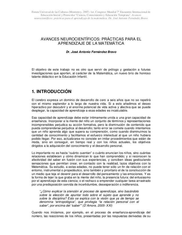 Forum Universal de las Culturas (Monterrey, 2007) 1er. Congreso Mundial 7º Encuentro Internacional de Educación Inicial y ...