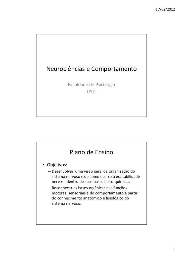 17/02/2012 Neurociências e Comportamento               Faculdade de Psicologia                       USJT               Pl...