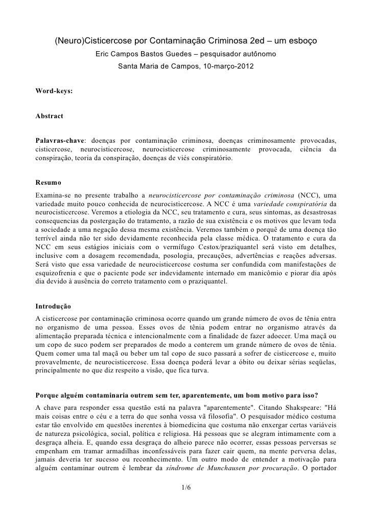 (Neuro)Cisticercose por Contaminação Criminosa 2ed – um esboço                   Eric Campos Bastos Guedes – pesquisador a...