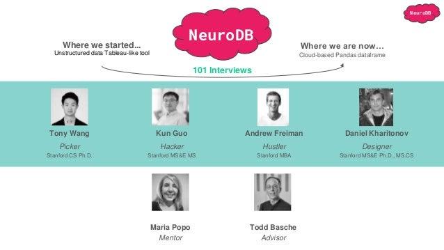 NeuroDB Tony Wang Kun Guo Andrew Freiman Daniel Kharitonov Picker Stanford CS Ph.D. Hacker Stanford MS&E MS Hustler Stanfo...