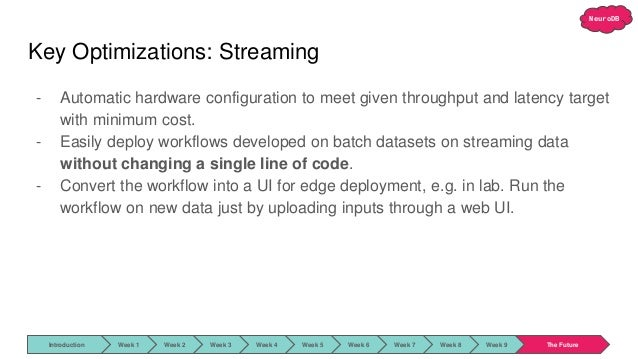 NeuroDB Key Optimizations: Streaming - Automatic hardware configuration to meet given throughput and latency target with m...