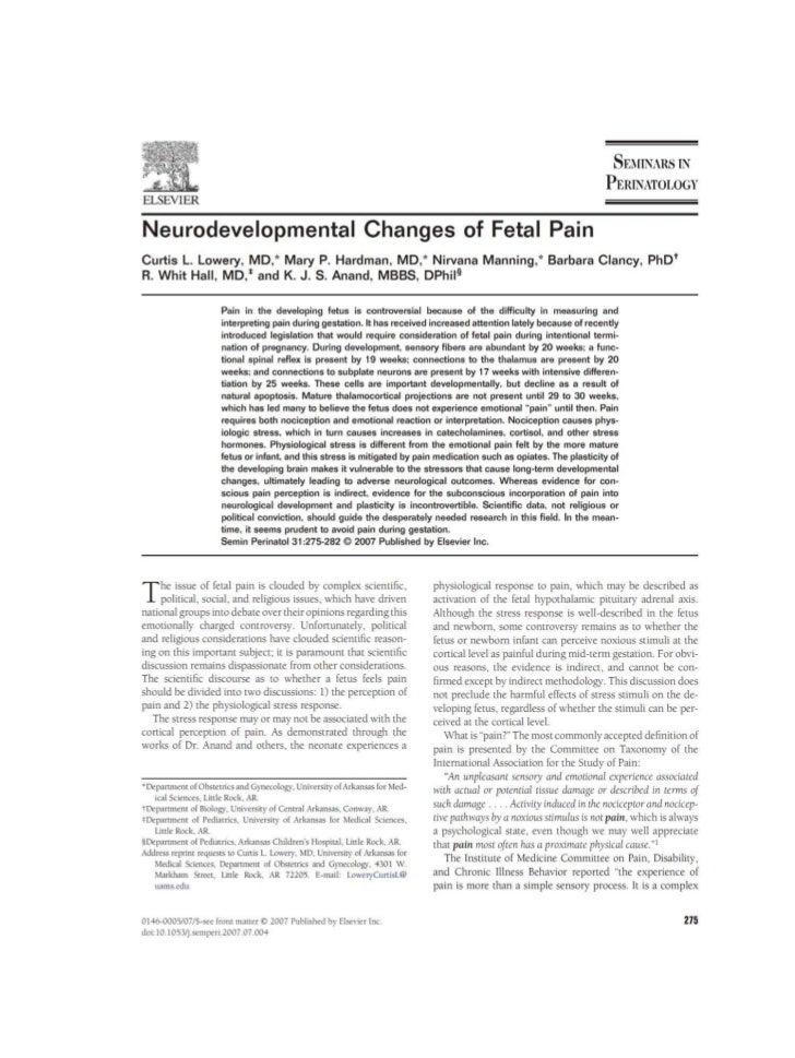 Neurodevelopmental changes of fetal pain