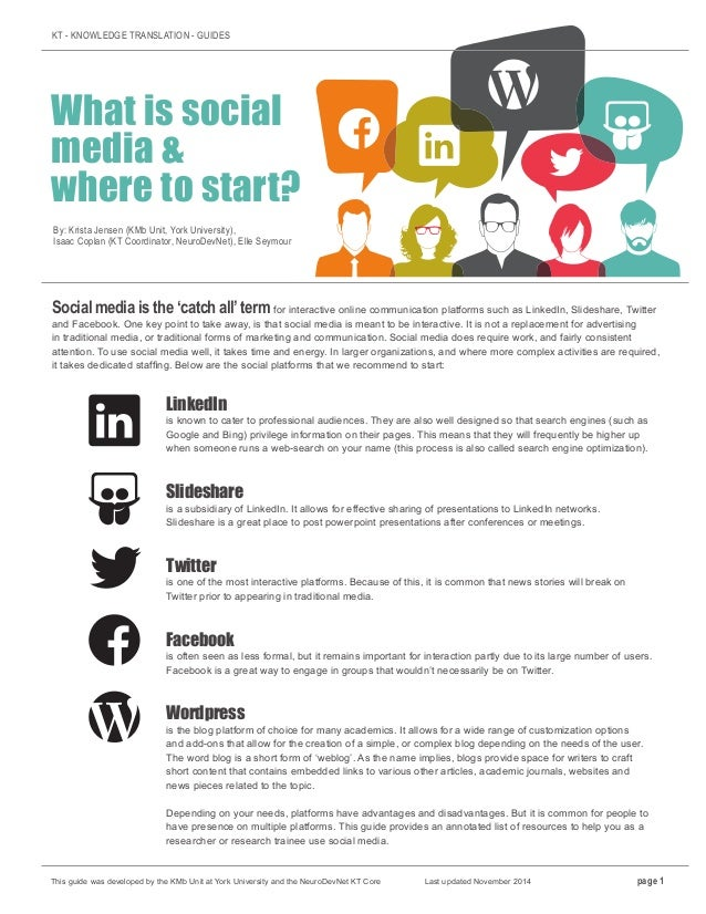 KT - KNOWLEDGE TRANSLATION - GUIDES What is social media & where to start? By: Krista Jensen (KMb Unit, York University), ...