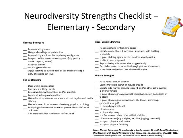 strengths and weaknesses students have