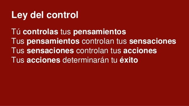 Ley de la correspondencia Éxito en el interior es éxito en el exterior. En el interior tenemos control, en el exterior no....