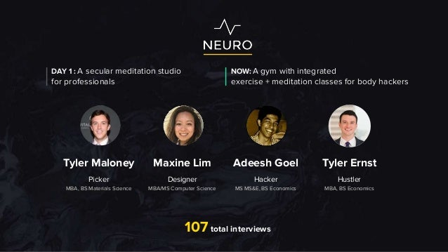 107 total interviews Tyler Maloney Maxine Lim Adeesh Goel Tyler Ernst Picker MBA, BS Materials Science Designer MBA/MS Com...