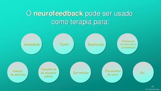 —Dr. Rosimar Dias— 20 O neurofeedback pode ser usado como terapia para: Ansiedade Manejo do estresse TDAH Depressão Proble...