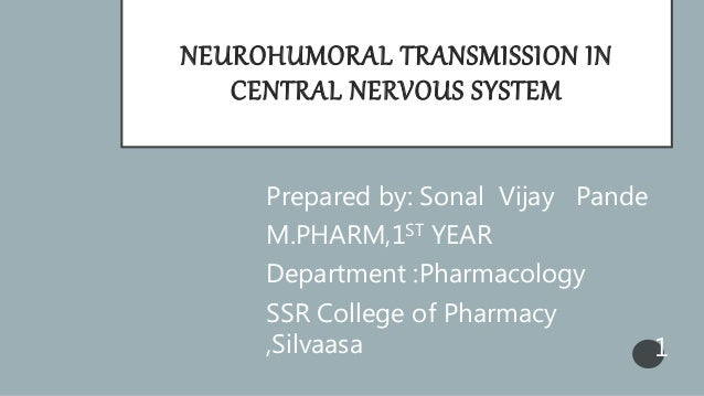 NEUROHUMORAL TRANSMISSION IN CENTRAL NERVOUS SYSTEM Prepared by: Sonal Vijay Pande M.PHARM,1ST YEAR Department :Pharmacolo...