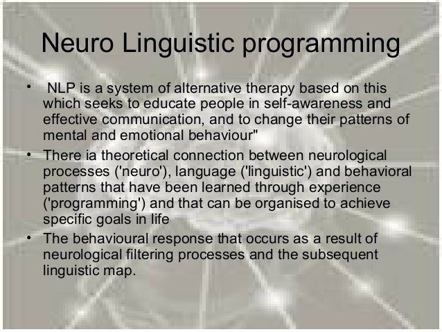 neuro linguistic programming dating Liz started off as a dating coach 6 years ago working for sean stephenson liz is a certified trainer of neuro-linguistic programming (nlp), and certified in.