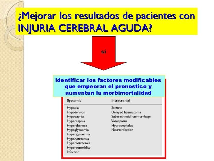 ¿Mejorar los resultados de pacientes con INJURIA CEREBRAL AGUDA? sí identificar los factores modificables  que empeoran el...