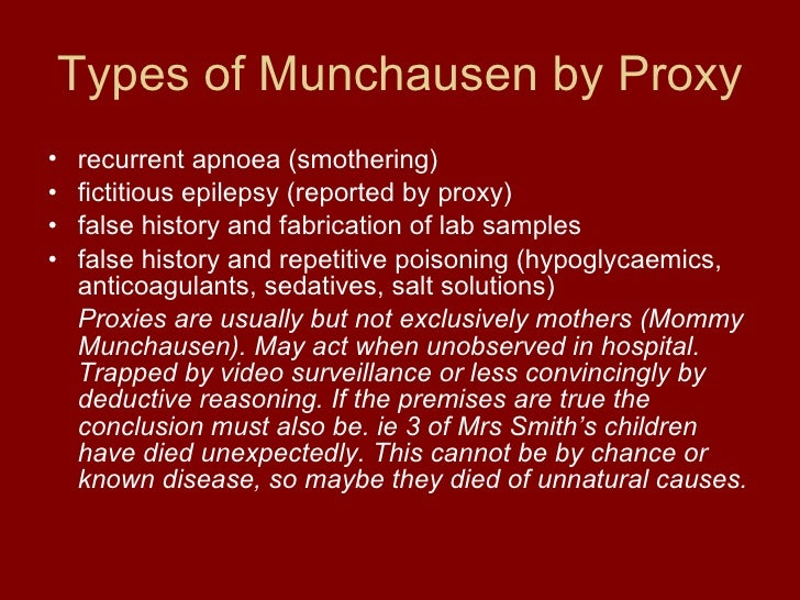 effects of munchausen syndrome by proxy Abstract this paper reviews for the psychology community a life-threatening form  of child abuse munchausen syndrome by proxy describes a situation in which a.