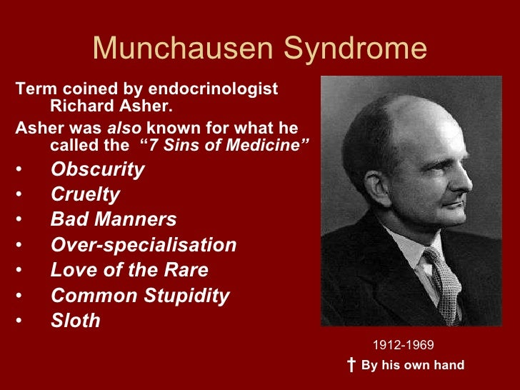 munchausen syndrome A new name for munchausen syndrome by proxy: defining fabricated or induced illness by carers ellen fish, leah bromfield and daryl higgins.
