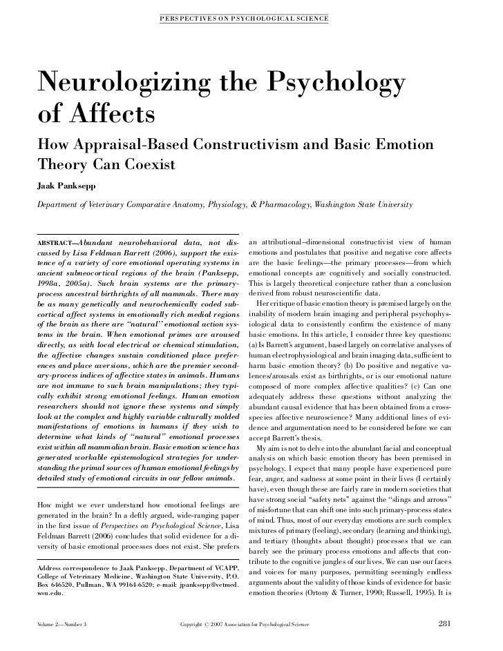 P ERS PE CT IVE S ON PS YC HOLOGIC AL SC IENC ENeurologizing the Psychologyof AffectsHow Appraisal-Based Constructivism an...