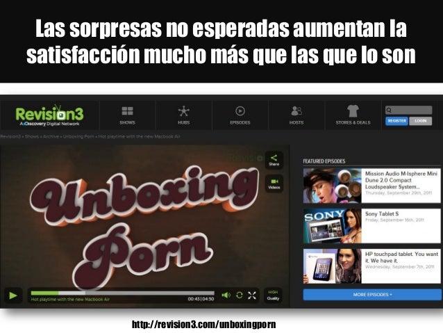 Las sorpresas no esperadas aumentan la satisfacción mucho más que las que lo son http://revision3.com/unboxingporn