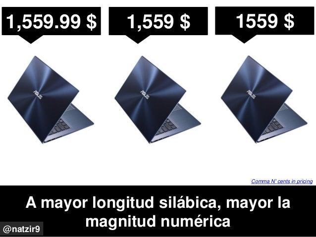 A mayor longitud silábica, mayor la magnitud numérica@natzir9 Comma N' cents in pricing 1,559.99 $ 1,559 $ 1559 $