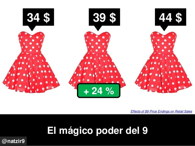 El mágico poder del 9 @natzir9 Effects of $9 Price Endings on Retail Sales 34 $ 39 $ 44 $ + 24 %
