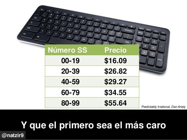 Y que el primero sea el más caro @natzir9 Predictably Irrational, Dan Ariely Número SS Precio 00-19 $16.09 20-39 $26.82 40...