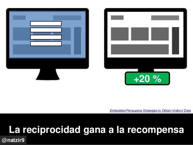 La reciprocidad gana a la recompensa @natzir9 Embedded Persuasive Strategies to Obtain Visitors' Data +20 %