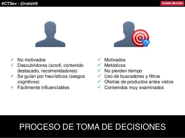 #CTSev - @natzir9 PROCESO DE TOMA DE DECISIONES  Motivados  Metódicos  No pierden tiempo  Uso de buscadores y filtros ...
