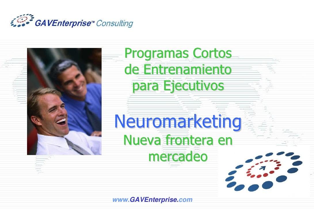 Programas Cortos    de Entrenamiento     para Ejecutivos  Neuromarketing   Nueva frontera en      mercadeo  www.GAVEnterpr...