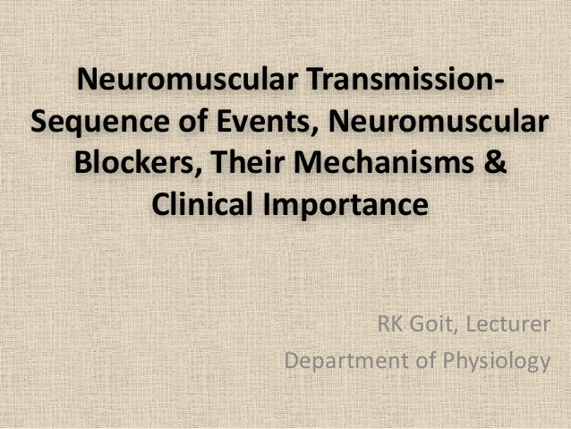 Neuromuscular Transmission- Sequence of Events, Neuromuscular Blockers, Their Mechanisms & Clinical Importance RK Goit, Le...