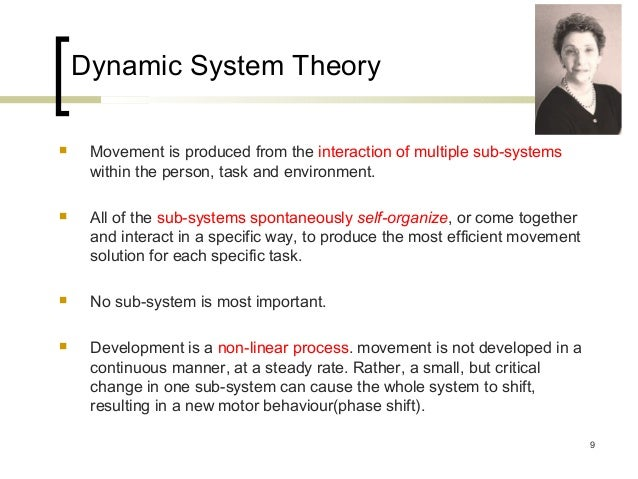 dynamic systems theory Dynamical systems theory is a field of applied mathematicsit tries to describe complex dynamical systems, often using differential equations and difference equationswhen differential equations are used, the theory is called continuous dynamical systems theory.