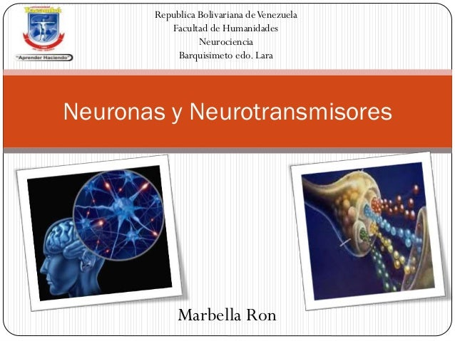 Neuronas y Neurotransmisores Republica Bolivariana deVenezuela Facultad de Humanidades Neurociencia Barquisimeto edo. Lara...