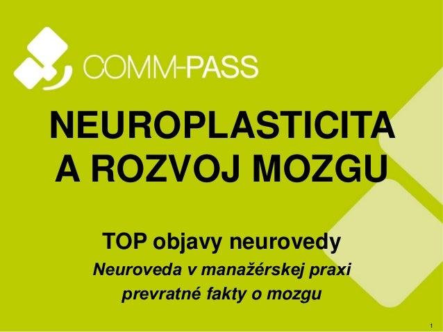 1 NEUROPLASTICITA A ROZVOJ MOZGU TOP objavy neurovedy Neuroveda v manažérskej praxi prevratné fakty o mozgu