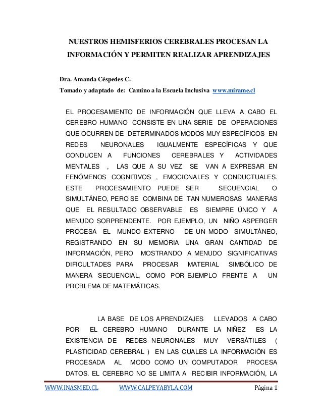 WWW.INASMED.CL WWW.CALPEYABYLA.COM Página 1 NUESTROS HEMISFERIOS CEREBRALES PROCESAN LA INFORMACIÓN Y PERMITEN REALIZAR AP...
