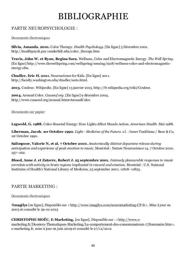 40      BIBLIOGRAPHIE PARTIE NEUROPSYCHOLOGIE : Documents électroniques Silvia, Amanda. 2001. Color Therapy. Health Ps...