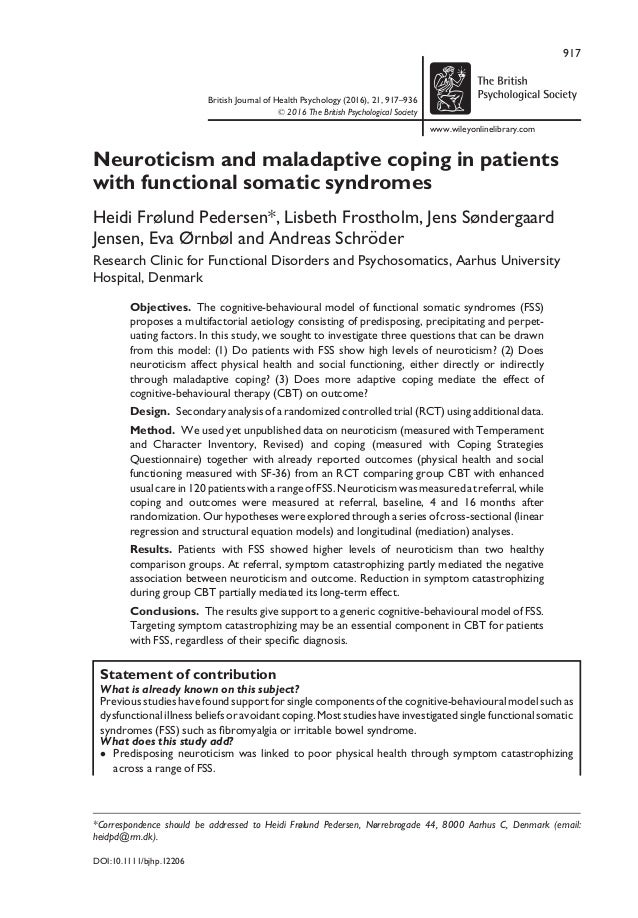 Neurotocism and maladaptive coping in patients with