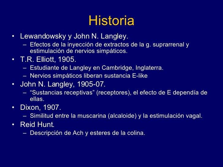 Historia <ul><li>Lewandowsky y John N. Langley. </li></ul><ul><ul><li>Efectos de la inyección de extractos de la g. suprar...
