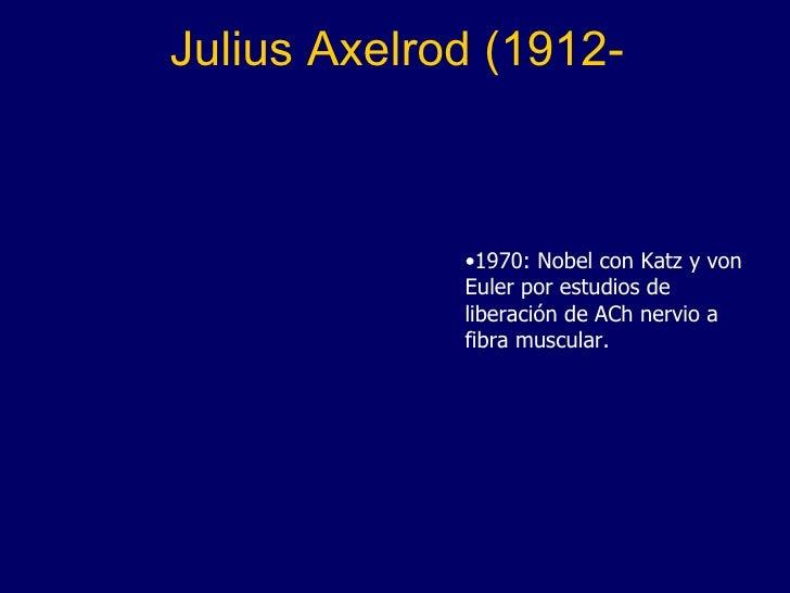 Julius Axelrod (1912- <ul><li>1970: Nobel con Katz y von Euler por estudios de liberación de ACh nervio a fibra muscular. ...