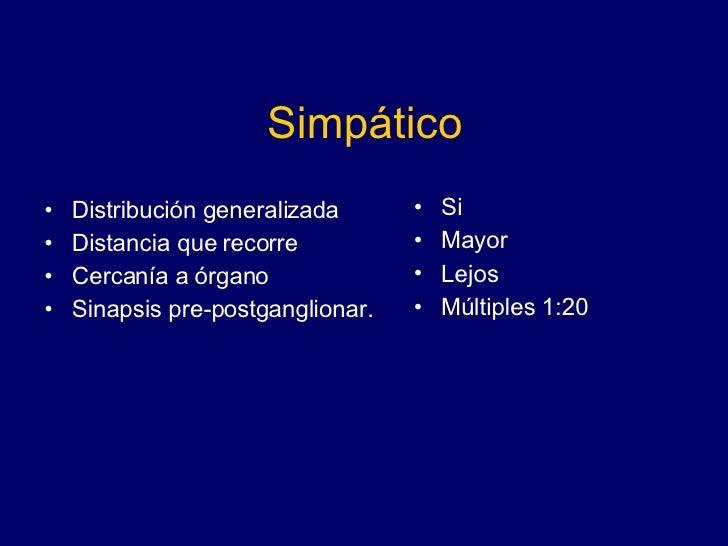 Simpático <ul><li>Distribución generalizada </li></ul><ul><li>Distancia que recorre </li></ul><ul><li>Cercanía a órgano </...