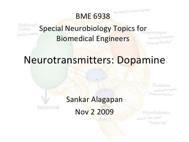 Neurotransmitters: Dopamine Sankar Alagapan Nov 2 2009 BME 6938 Special Neurobiology Topics for Biomedical Engineers