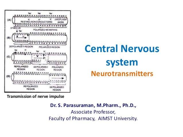Central Nervous system Neurotransmitters Dr. S. Parasuraman, M.Pharm., Ph.D., Associate Professor, Faculty of Pharmacy, AI...