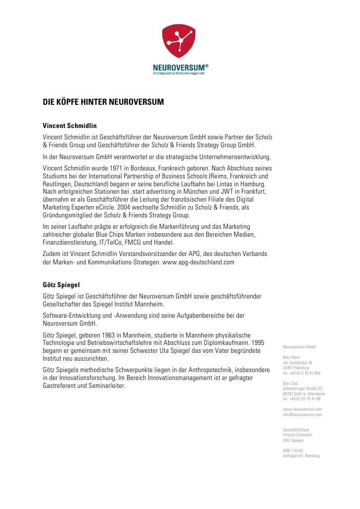 DIE KÖPFE HINTER NEUROVERSUMVincent SchmidlinVincent Schmidlin ist Geschäftsführer der Neuroversum GmbH sowie Partner der ...