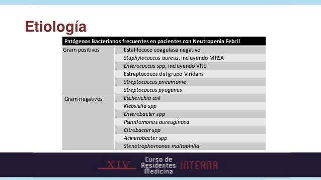 Etiología     Patógenos Bacterianos frecuentes en pacientes con Neutropenia Febril     Gram positivos         Estafilococo...