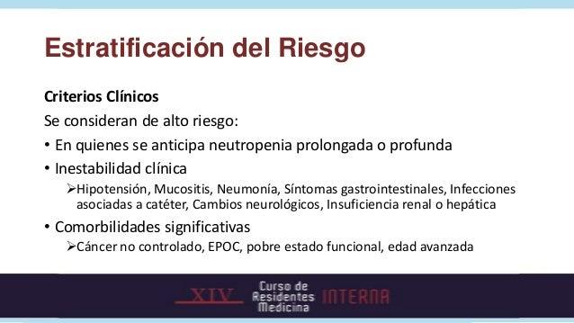 Estratificación del Riesgo Puntaje MASCC (Multinational Association for Supportive Care in Cancer)Característica          ...