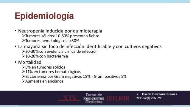 Epidemiología• Neutropenia inducida por quimioterapia   Tumores sólidos: 10-50% presentan fiebre   Tumores hematológicos...