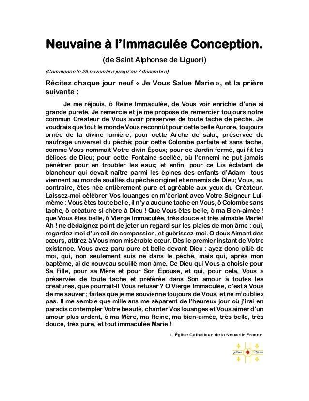 Neuvaine à l'Immaculée Conception. (de Saint Alphonse de Liguori) (Commence le 29 novembre jusqu'au 7 décembre) Récitez ch...
