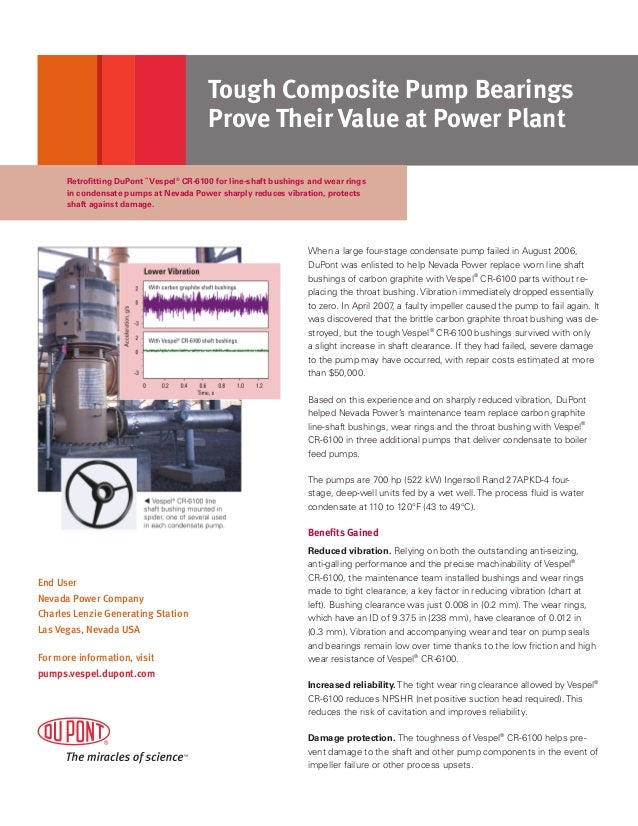 Tough Composite Pump Bearings Prove Their Value at Power Plant Retrofitting DuPont™ Vespel® CR-6100 for line-shaft bushing...