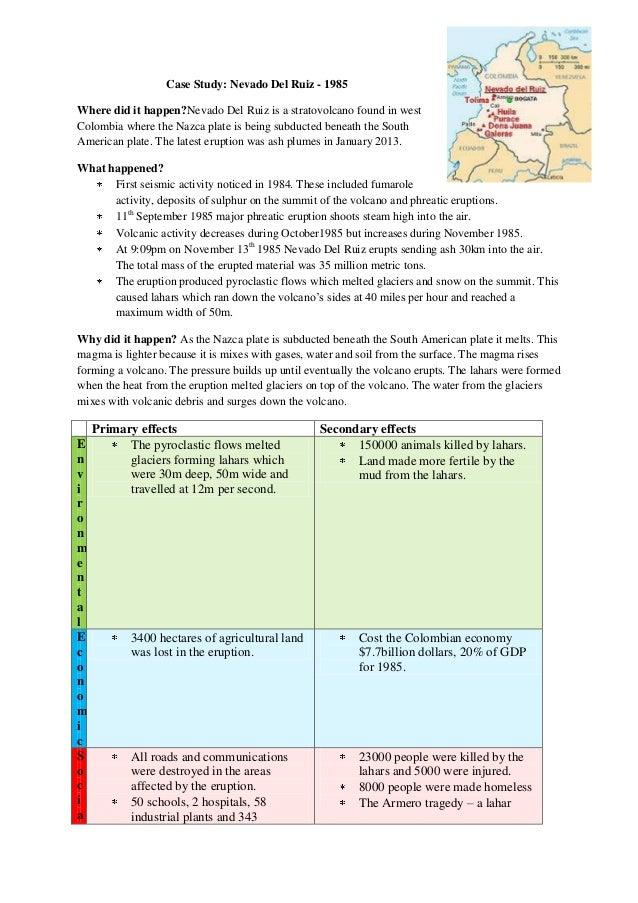 Case Study: Nevado Del Ruiz - 1985 Where did it happen?Nevado Del Ruiz is a stratovolcano found in west Colombia where the...