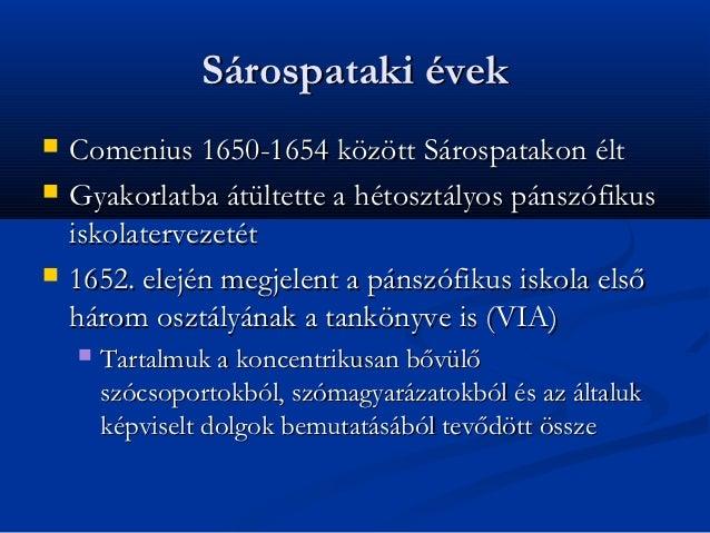Sárospataki évek   Comenius 1650-1654 között Sárospatakon élt   Gyakorlatba átültette a hétosztályos pánszófikus    isko...